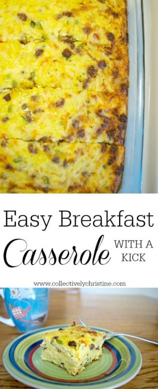Easy Breakfast Casserole perfect for meal prep or brunch. Add a little kick to your morning with added peppers.