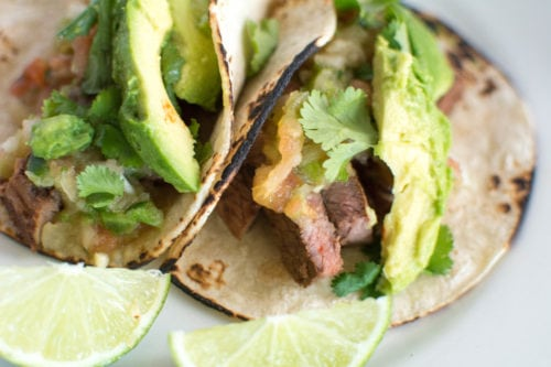 carne asada tacos with pico de gallo