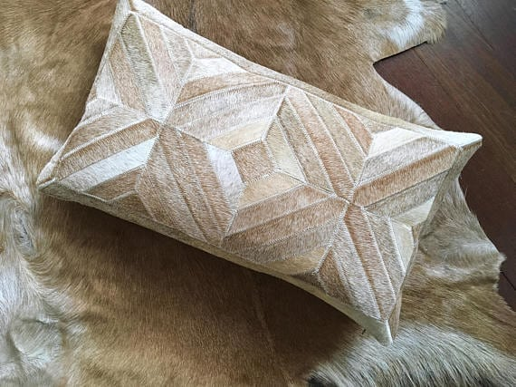 Unique cowhide patchwork pillow